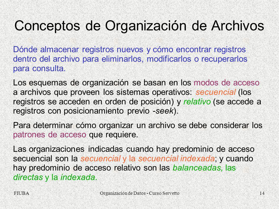FIUBAOrganización de Datos - Curso Servetto14 Conceptos de Organización de Archivos Dónde almacenar registros nuevos y cómo encontrar registros dentro