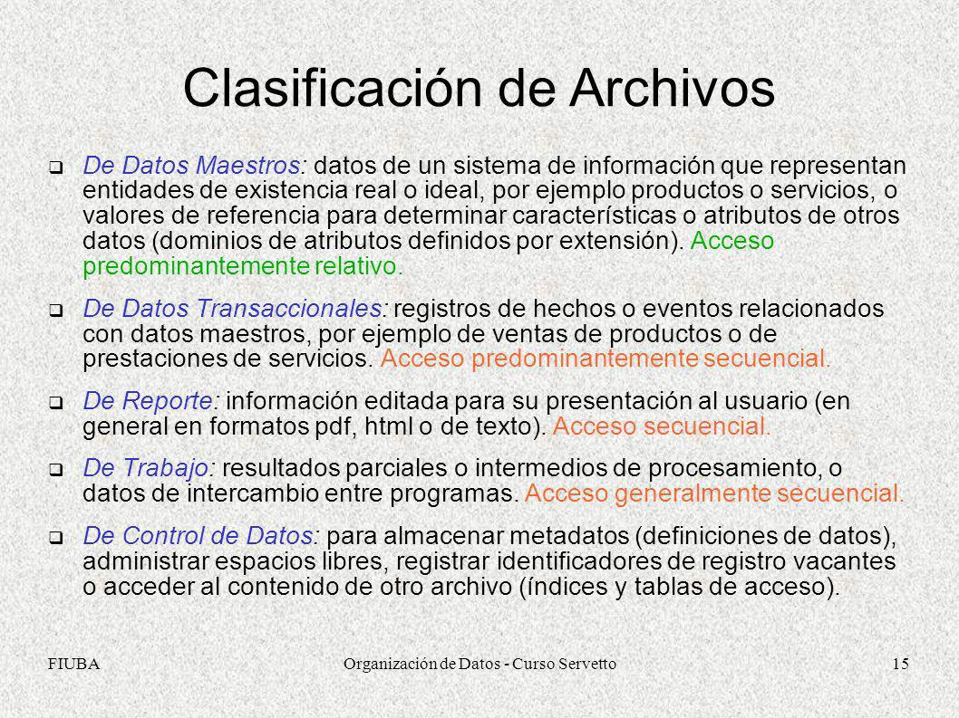 FIUBAOrganización de Datos - Curso Servetto15 Clasificación de Archivos De Datos Maestros: datos de un sistema de información que representan entidade