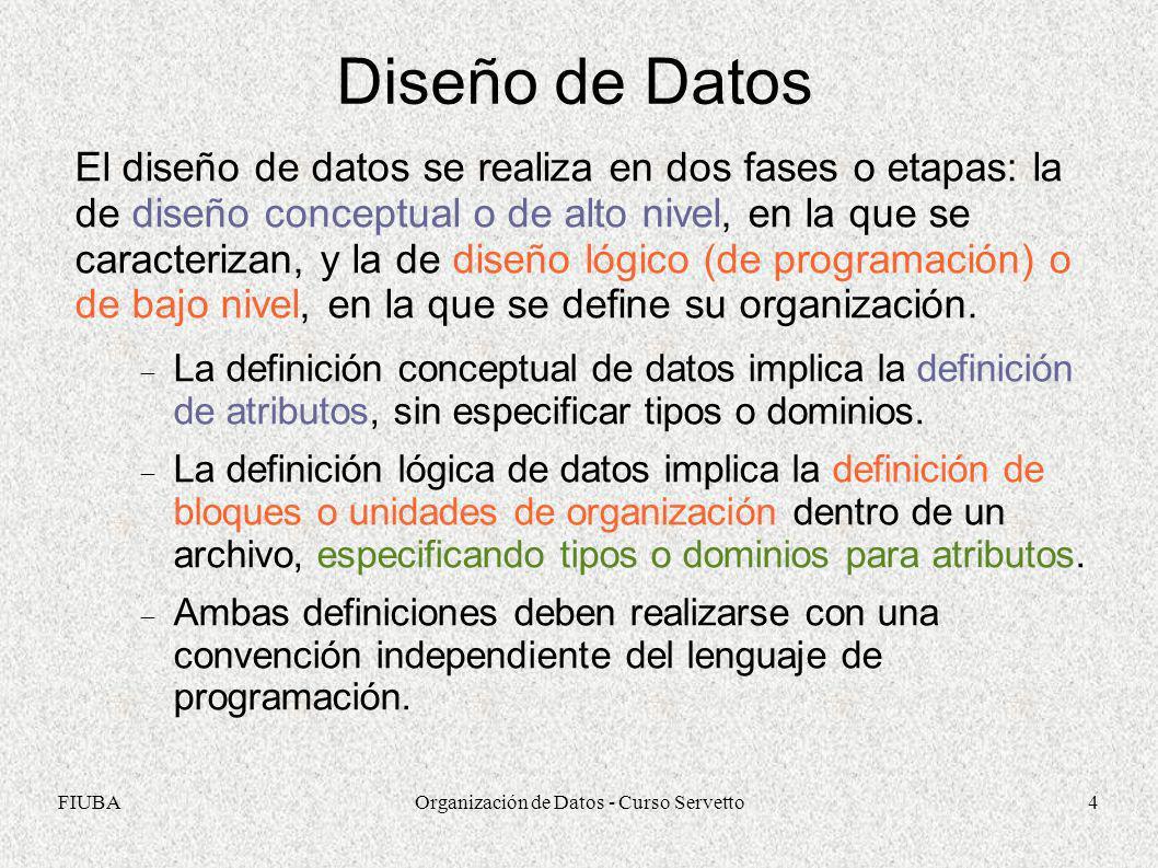 FIUBAOrganización de Datos - Curso Servetto5 Diseño Conceptual de Datos Los atributos peculiares de una cosa, persona o evento deben distinguirlo de los demás, por lo que debe haber un atributo o conjunto de ellos que identifique unívocamente al dato y conforme lo que se llama un identificador.