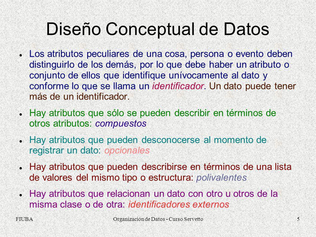 FIUBAOrganización de Datos - Curso Servetto5 Diseño Conceptual de Datos Los atributos peculiares de una cosa, persona o evento deben distinguirlo de l