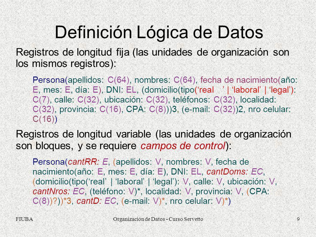 FIUBAOrganización de Datos - Curso Servetto10 Relaciones Lógicas entre Datos Modelo de Objetos Definición Conceptual Definición Lógica (Identificadores automáticos) A((a1)i, a2, …, ((b)ie)*) B((b1)i, b2, …, ((a)ie)*) A(idA: EL, a1: Ta1, a2: Ta2, …, (b: EL)*) B(idB: EL, b1: Tb1, b2: Tb2, …, (a: EL)*) Inconveniente con bajas pueden quedar referenciados objetos eliminados no se reutilizan identificadores