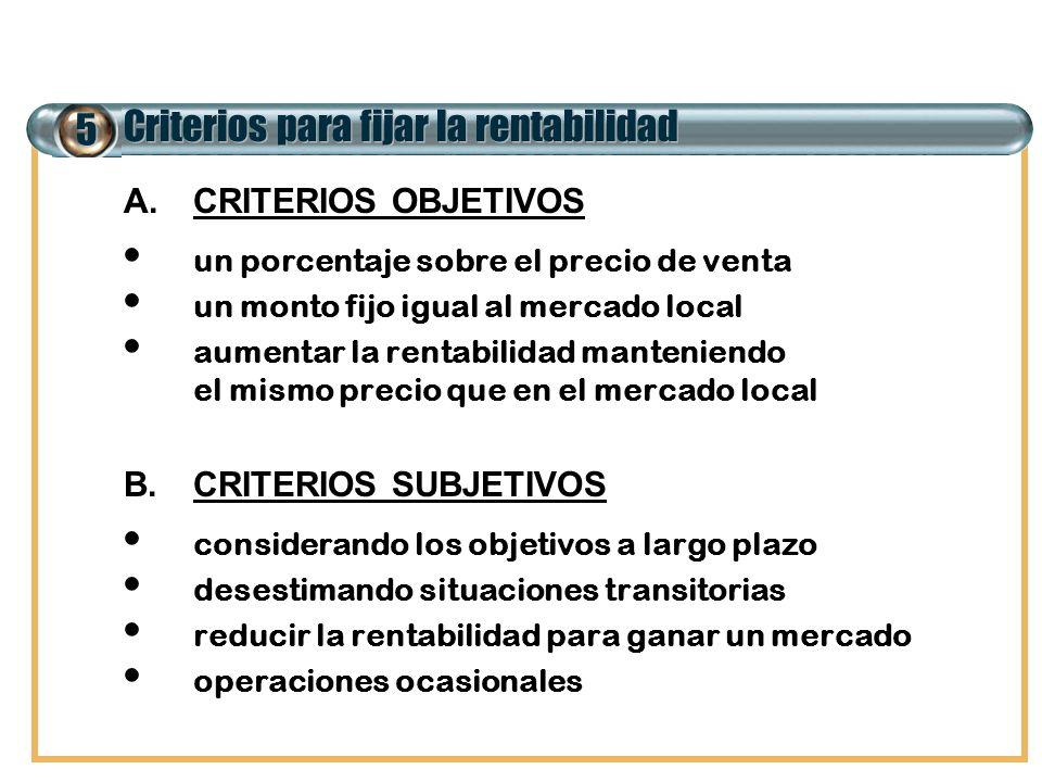 5 Criterios para fijar la rentabilidad A.CRITERIOS OBJETIVOS un porcentaje sobre el precio de venta un monto fijo igual al mercado local aumentar la r