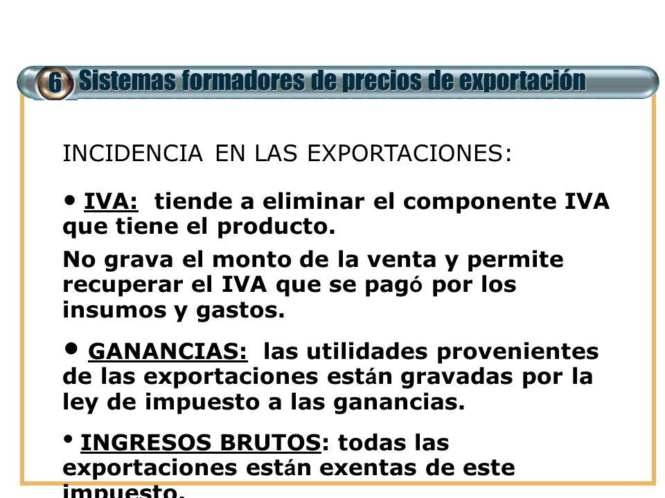 6 Sistemas formadores de precios de exportación IMPUESTOS MAS RELEVANTES EN EL COMERCIO EXTERIOR E INCIDENCIA EN LAS EXPORTACIONES: IVA: tiende a elim