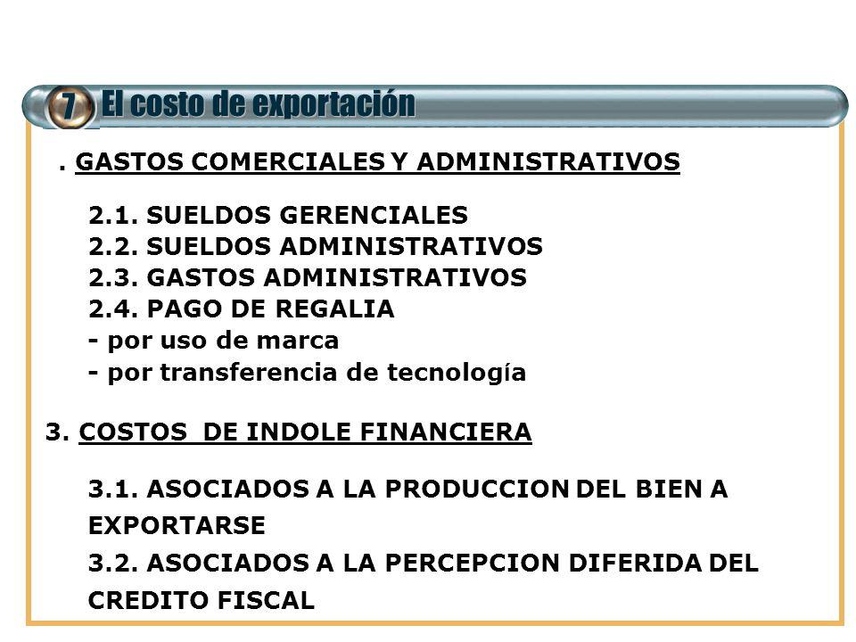 7 El costo de exportación 2. GASTOS COMERCIALES Y ADMINISTRATIVOS 2.1. SUELDOS GERENCIALES 2.2. SUELDOS ADMINISTRATIVOS 2.3. GASTOS ADMINISTRATIVOS 2.