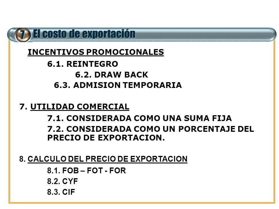7 El costo de exportación 6. INCENTIVOS PROMOCIONALES 6.1. REINTEGRO 6.2. DRAW BACK 6.3. ADMISION TEMPORARIA 7. UTILIDAD COMERCIAL 7.1. CONSIDERADA CO