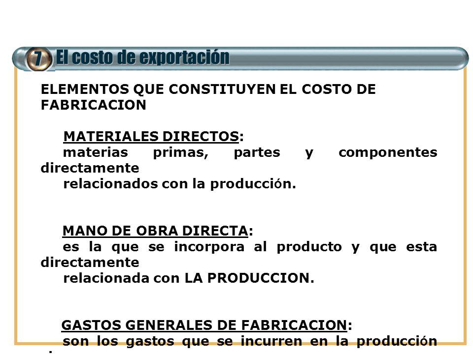 7 El costo de exportación ELEMENTOS QUE CONSTITUYEN EL COSTO DE FABRICACION MATERIALES DIRECTOS: materias primas, partes y componentes directamente re