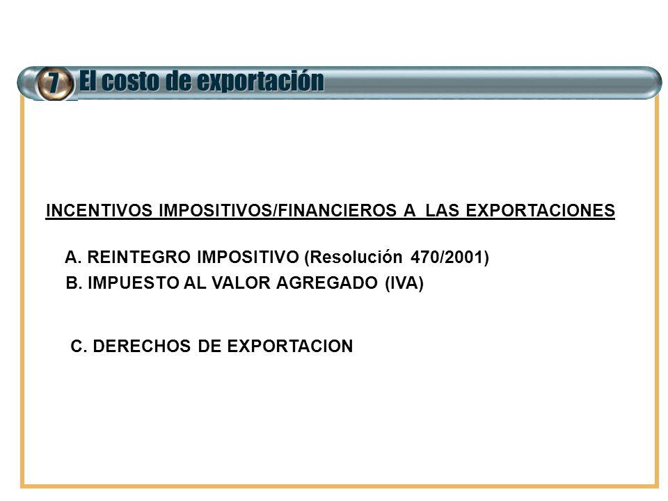 7 El costo de exportación INCENTIVOS IMPOSITIVOS/FINANCIEROS A LAS EXPORTACIONES A. REINTEGRO IMPOSITIVO (Resolución 470/2001) B. IMPUESTO AL VALOR AG