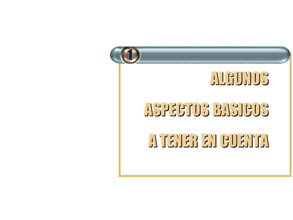 ALGUNOS ASPECTOS BASICOS A TENER EN CUENTA ALGUNOS ASPECTOS BASICOS A TENER EN CUENTA1