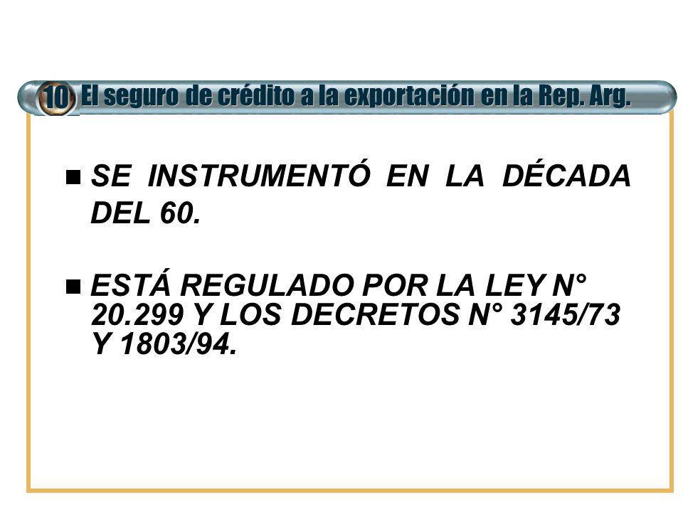 El seguro de crédito a la exportación en la Rep. Arg. 10 SE INSTRUMENTÓ EN LA DÉCADA DEL 60. ESTÁ REGULADO POR LA LEY N° 20.299 Y LOS DECRETOS N° 3145