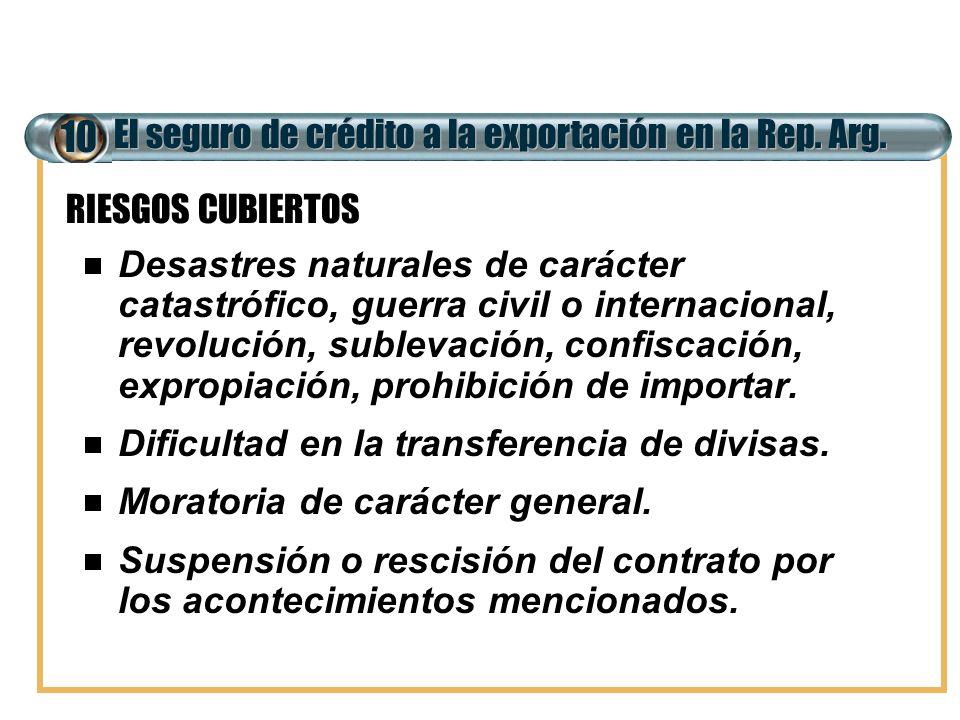 El seguro de crédito a la exportación en la Rep. Arg. 10 Desastres naturales de carácter catastrófico, guerra civil o internacional, revolución, suble