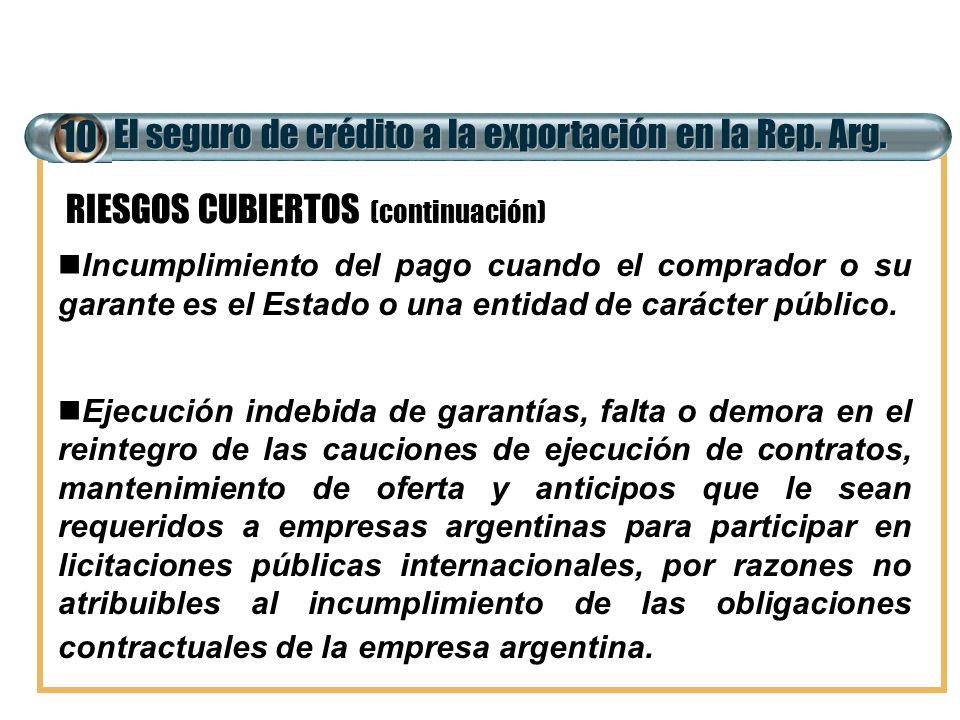 El seguro de crédito a la exportación en la Rep. Arg. 10 Incumplimiento del pago cuando el comprador o su garante es el Estado o una entidad de caráct