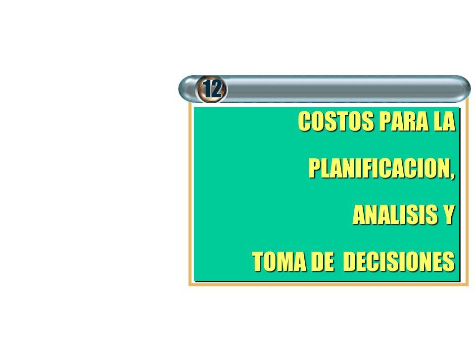 COSTOS PARA LA PLANIFICACION, ANALISIS Y TOMA DE DECISIONES COSTOS PARA LA PLANIFICACION, ANALISIS Y TOMA DE DECISIONES 12