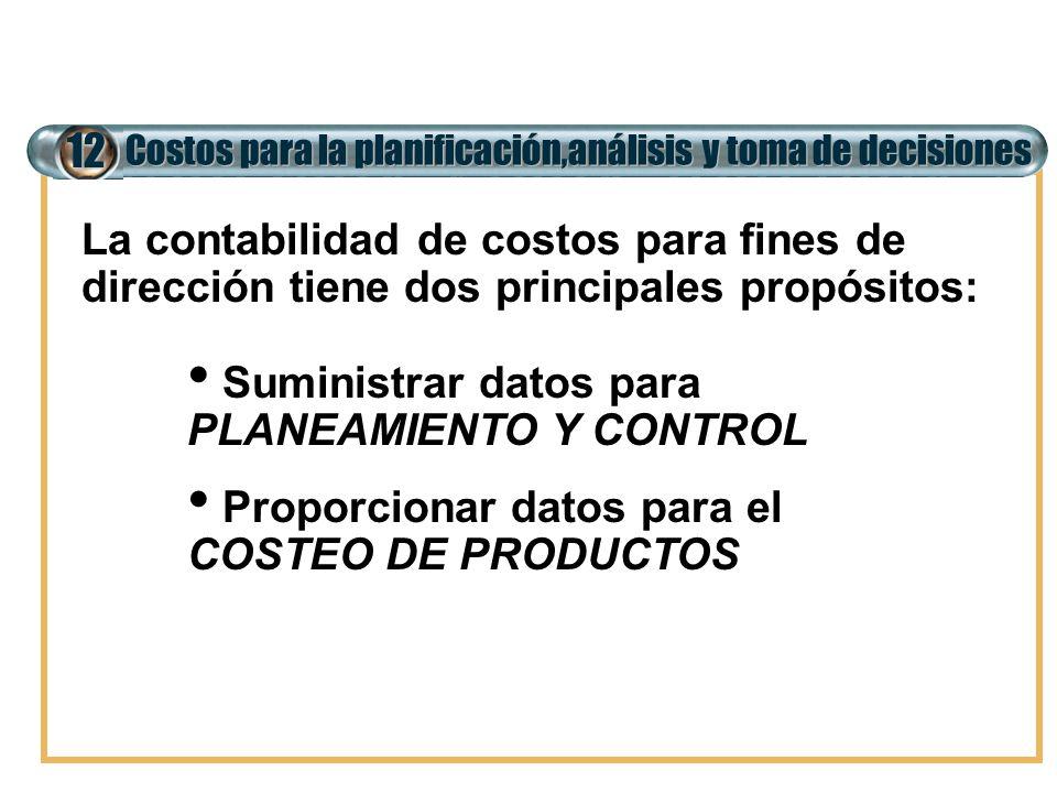 Costos para la planificación,análisis y toma de decisiones 12 La contabilidad de costos para fines de dirección tiene dos principales propósitos: Sumi