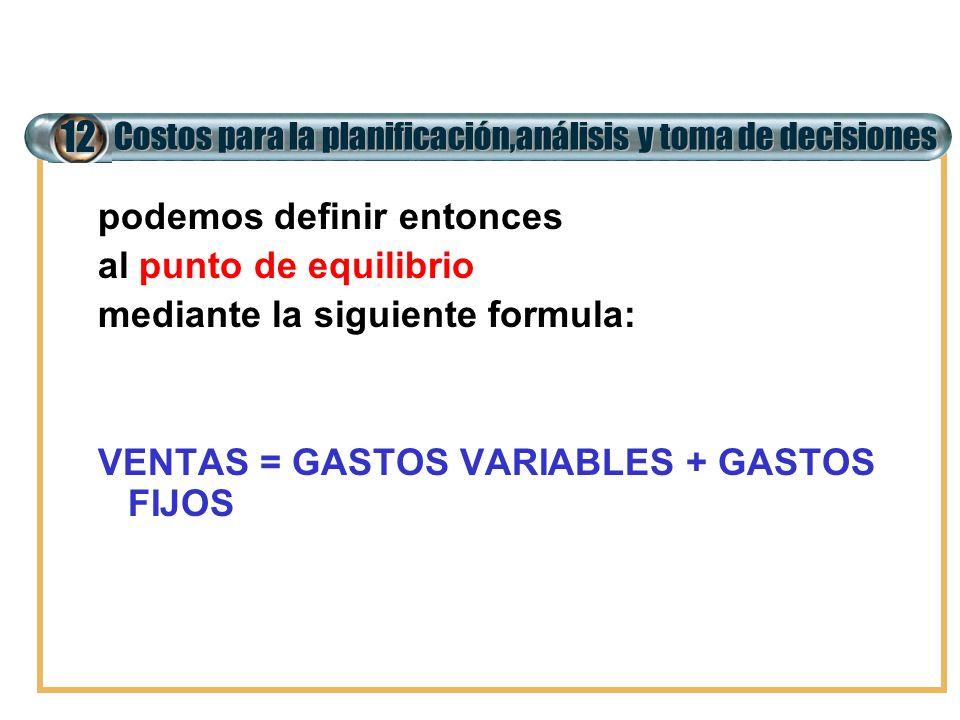 Costos para la planificación,análisis y toma de decisiones 12 podemos definir entonces al punto de equilibrio mediante la siguiente formula: VENTAS =