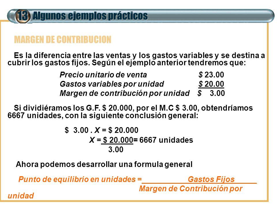 Algunos ejemplos prácticos 13 MARGEN DE CONTRIBUCION Es la diferencia entre las ventas y los gastos variables y se destina a cubrir los gastos fijos.