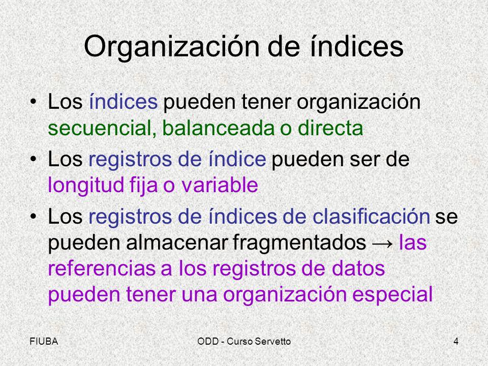 FIUBAODD - Curso Servetto4 Organización de índices Los índices pueden tener organización secuencial, balanceada o directa Los registros de índice pued