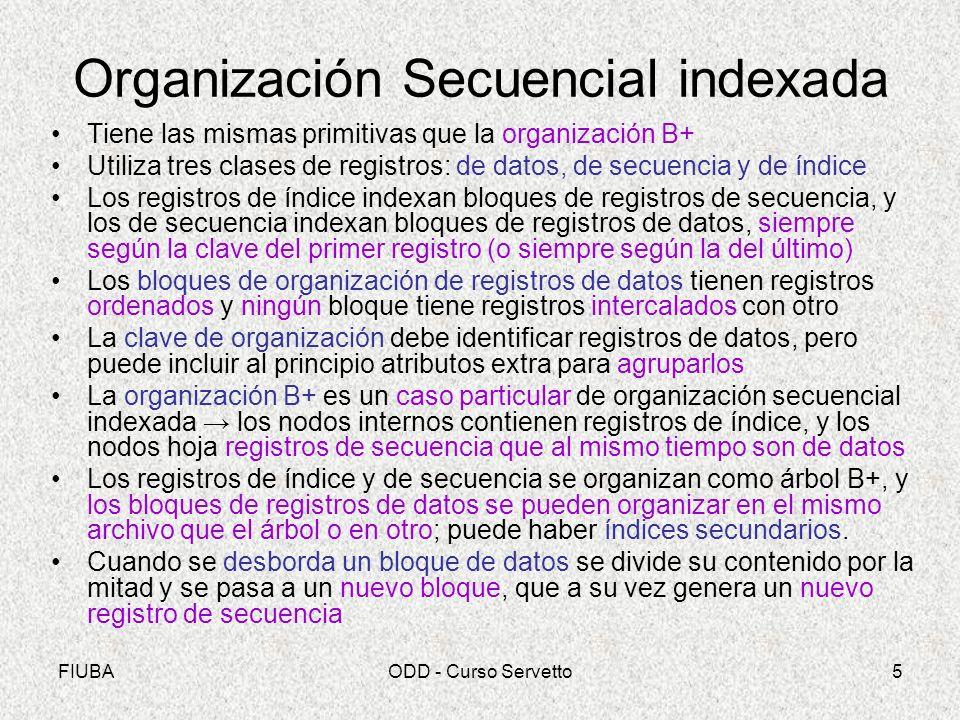 FIUBAODD - Curso Servetto5 Organización Secuencial indexada Tiene las mismas primitivas que la organización B+ Utiliza tres clases de registros: de da