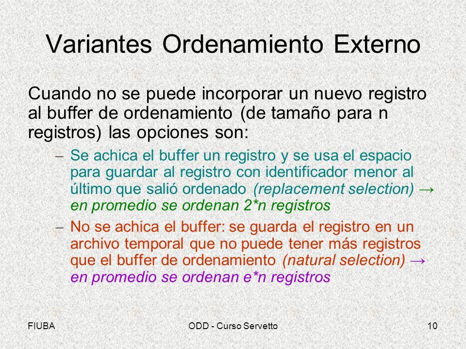 FIUBAODD - Curso Servetto10 Variantes Ordenamiento Externo Cuando no se puede incorporar un nuevo registro al buffer de ordenamiento (de tamaño para n