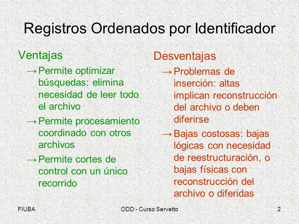 FIUBAODD - Curso Servetto3 Casos de Archivos Secuenciales Archivos maestros con pocos registros y pocas actualizaciones Archivos de trabajo Reordenación de transacciones para totalizaciones parciales (cortes de control –p.e.