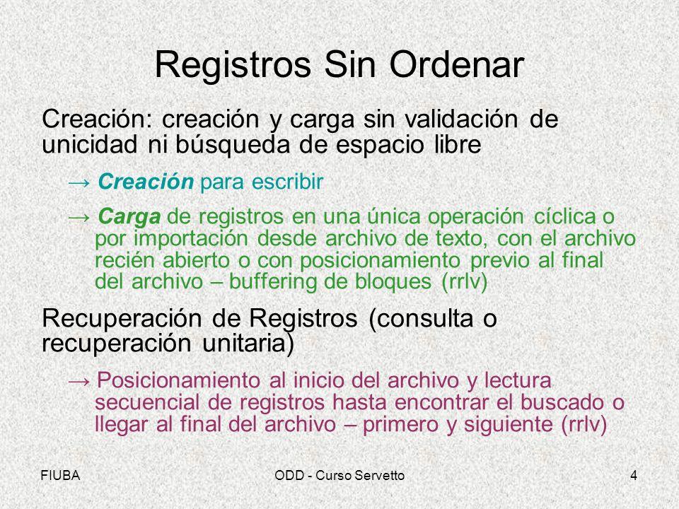 FIUBAODD - Curso Servetto4 Registros Sin Ordenar Creación: creación y carga sin validación de unicidad ni búsqueda de espacio libre Creación para escr