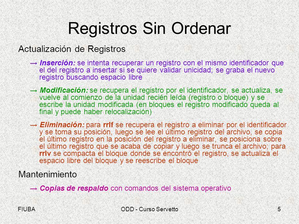 FIUBAODD - Curso Servetto5 Registros Sin Ordenar Actualización de Registros Inserción: se intenta recuperar un registro con el mismo identificador que
