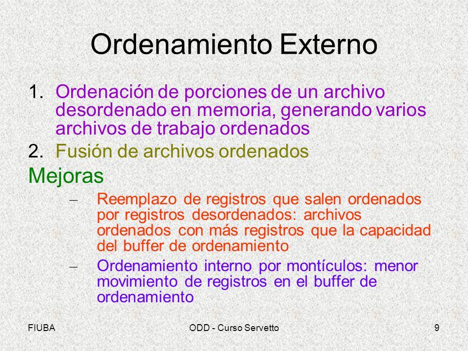 FIUBAODD - Curso Servetto9 Ordenamiento Externo 1.Ordenación de porciones de un archivo desordenado en memoria, generando varios archivos de trabajo o