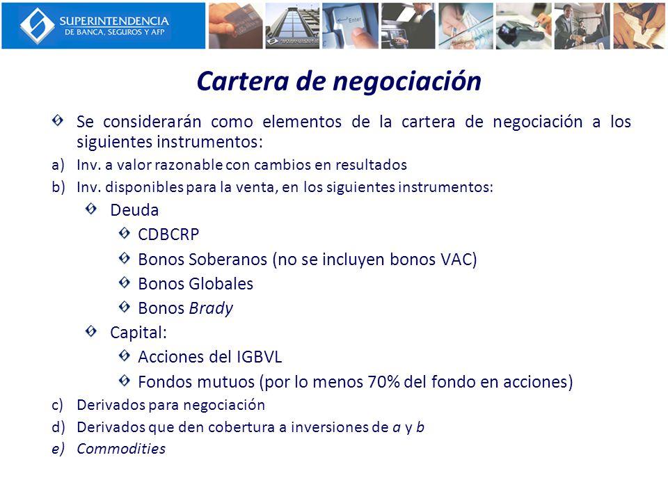 Cartera de negociación Se considerarán como elementos de la cartera de negociación a los siguientes instrumentos: a)Inv. a valor razonable con cambios