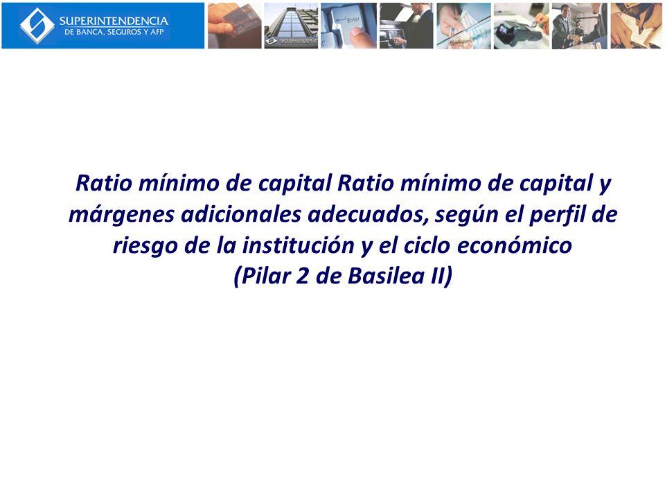 Ratio mínimo de capital Ratio mínimo de capital y márgenes adicionales adecuados, según el perfil de riesgo de la institución y el ciclo económico (Pi