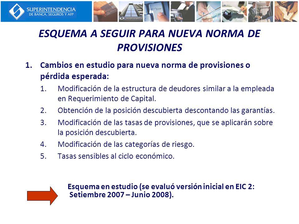 ESQUEMA A SEGUIR PARA NUEVA NORMA DE PROVISIONES 1.Cambios en estudio para nueva norma de provisiones o pérdida esperada: 1.Modificación de la estruct