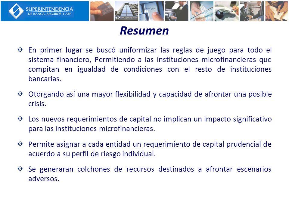 Resumen En primer lugar se buscó uniformizar las reglas de juego para todo el sistema financiero, Permitiendo a las instituciones microfinancieras que