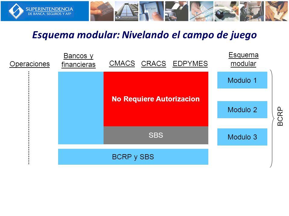 SBS No Requiere Autorizacion Esquema modular: Nivelando el campo de juego Operaciones Bancos y financieras CMACS CRACSEDPYMES Esquema modular Modulo 1