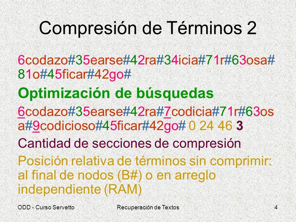 ODD - Curso ServettoRecuperación de Textos4 Compresión de Términos 2 6codazo#35earse#42ra#34icia#71r#63osa# 81o#45ficar#42go# Optimización de búsqueda