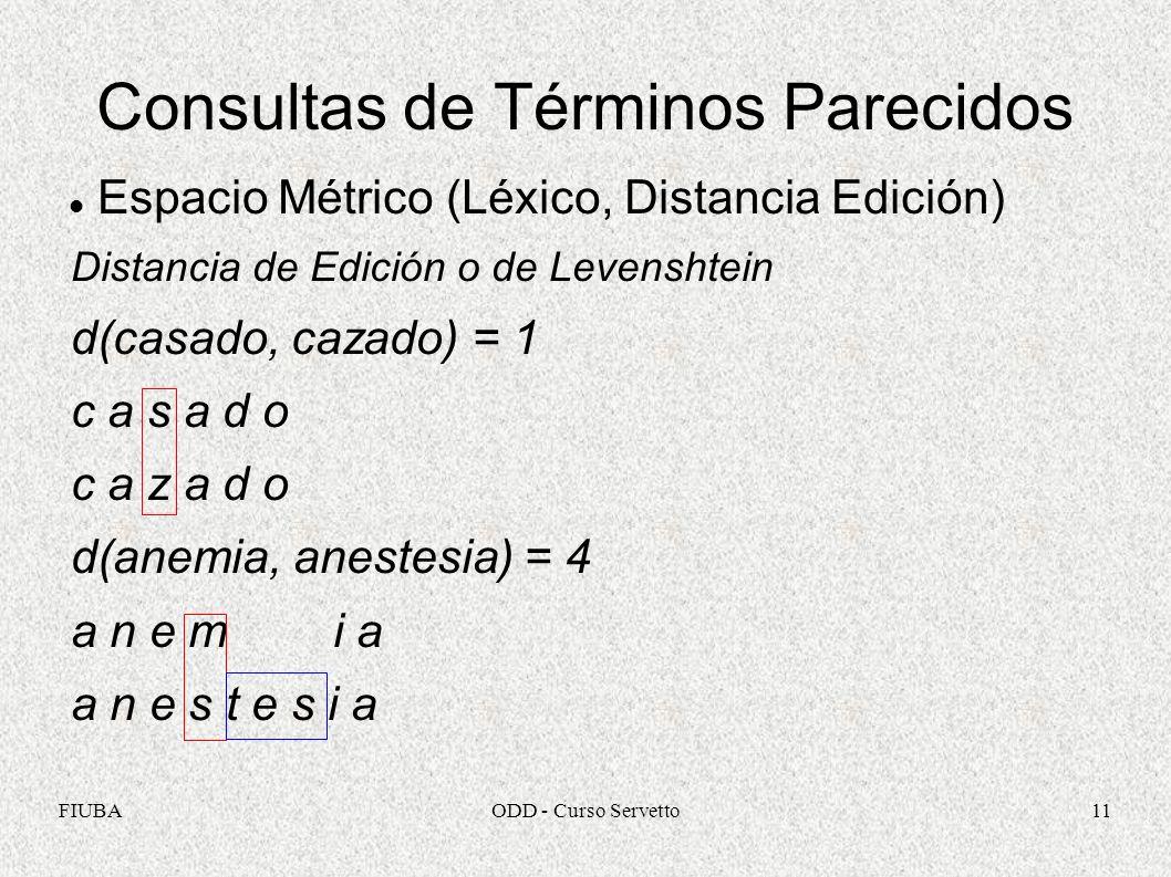 FIUBAODD - Curso Servetto11 Consultas de Términos Parecidos Espacio Métrico (Léxico, Distancia Edición) Distancia de Edición o de Levenshtein d(casado, cazado) = 1 c a s a d o c a z a d o d(anemia, anestesia) = 4 a n e m i a a n e s t e s i a