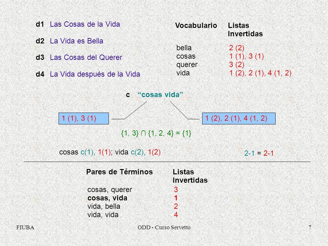 FIUBAODD - Curso Servetto7 Las Cosas de la Vida La Vida es Bella Las Cosas del Querer La Vida después de la Vida d1 d2 d3 d4 2 (2) 1 (1), 3 (1) 3 (2) 1 (2), 2 (1), 4 (1, 2) Vocabulario bella cosas querer vida Listas Invertidas ccosas vida 1 (1), 3 (1)1 (2), 2 (1), 4 (1, 2) {1, 3} {1, 2, 4} = {1} cosas c(1), 1(1); vida c(2), 1(2) 2-1 = 2-1 31243124 Pares de Términos cosas, querer cosas, vida vida, bella vida, vida Listas Invertidas
