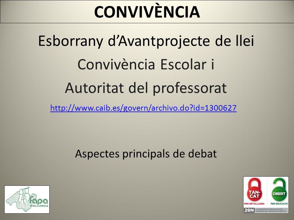 http://www.caib.es/govern/archivo.do id=1300627 CONVIVÈNCIA Esborrany dAvantprojecte de llei Convivència Escolar i Autoritat del professorat Aspectes principals de debat
