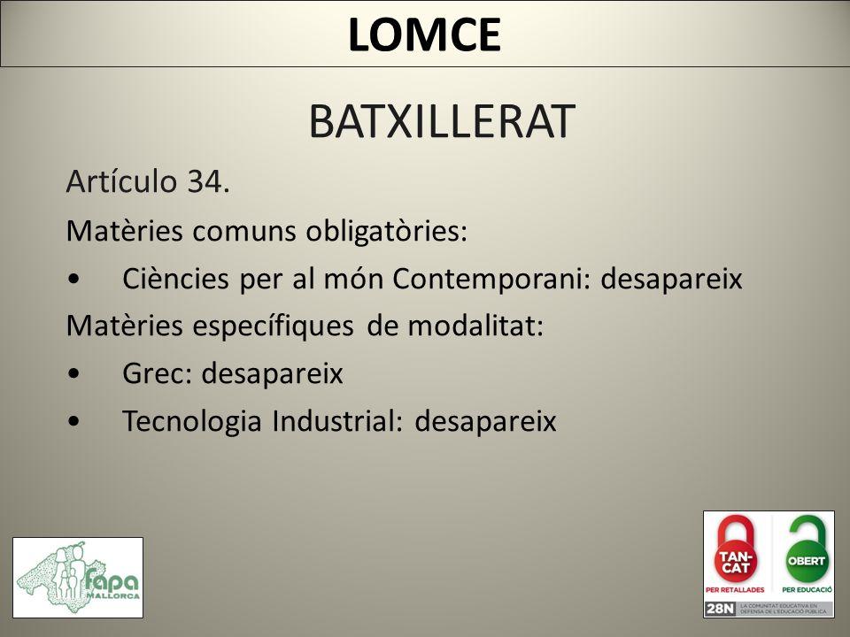 BATXILLERAT Artículo 34.