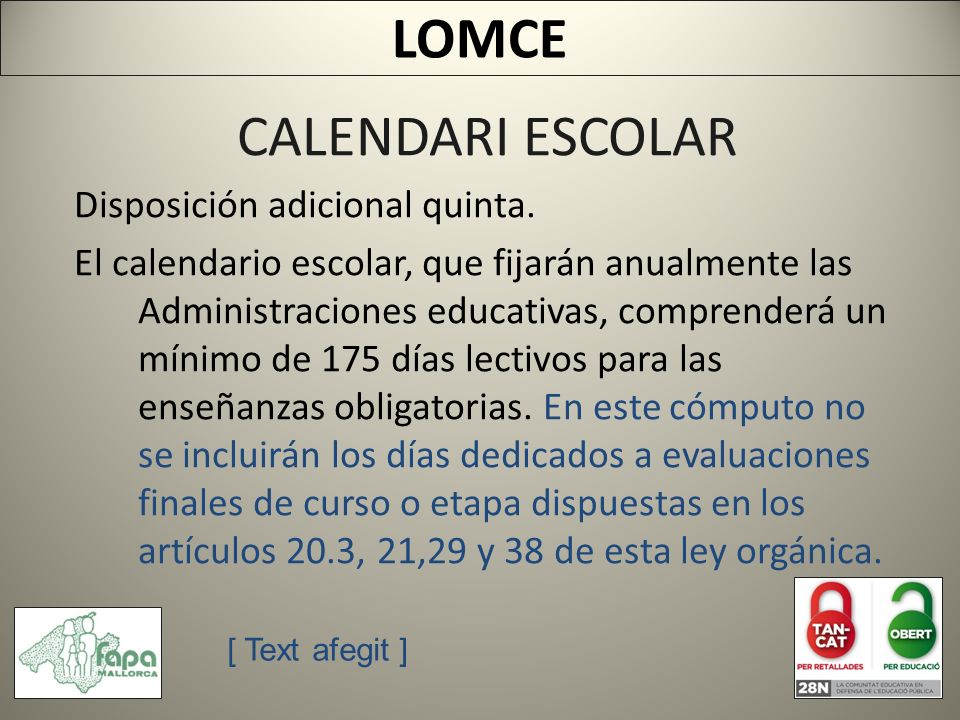 CALENDARI ESCOLAR Disposición adicional quinta.