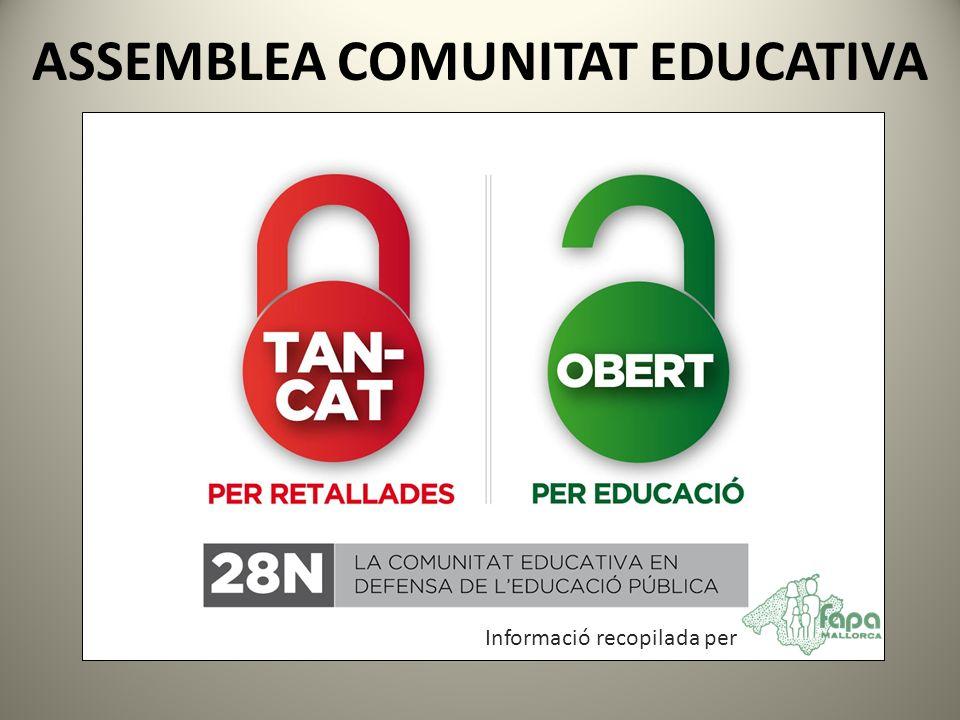ASSEMBLEA COMUNITAT EDUCATIVA Informació recopilada per