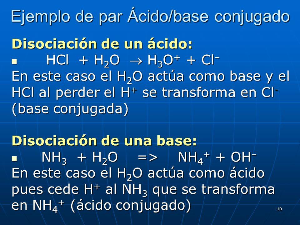 10 Ejemplo de par Ácido/base conjugado Disociación de un ácido: HCl + H 2 O H 3 O + + Cl – HCl + H 2 O H 3 O + + Cl – En este caso el H 2 O actúa como