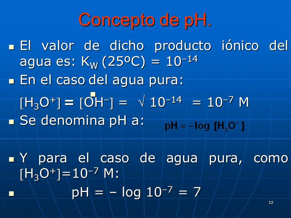 12 Concepto de pH. El valor de dicho producto iónico del agua es: K W (25ºC) = 10 –14 El valor de dicho producto iónico del agua es: K W (25ºC) = 10 –