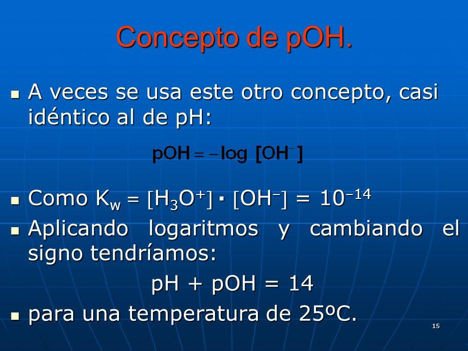 15 Concepto de pOH. A veces se usa este otro concepto, casi idéntico al de pH: A veces se usa este otro concepto, casi idéntico al de pH: Como K w =H