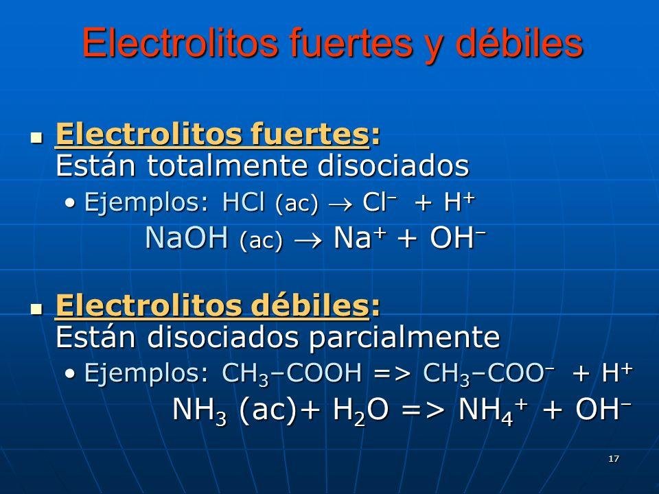 17 Electrolitos fuertes y débiles Electrolitos fuertes: Están totalmente disociados Electrolitos fuertes: Están totalmente disociados Ejemplos: HCl (a