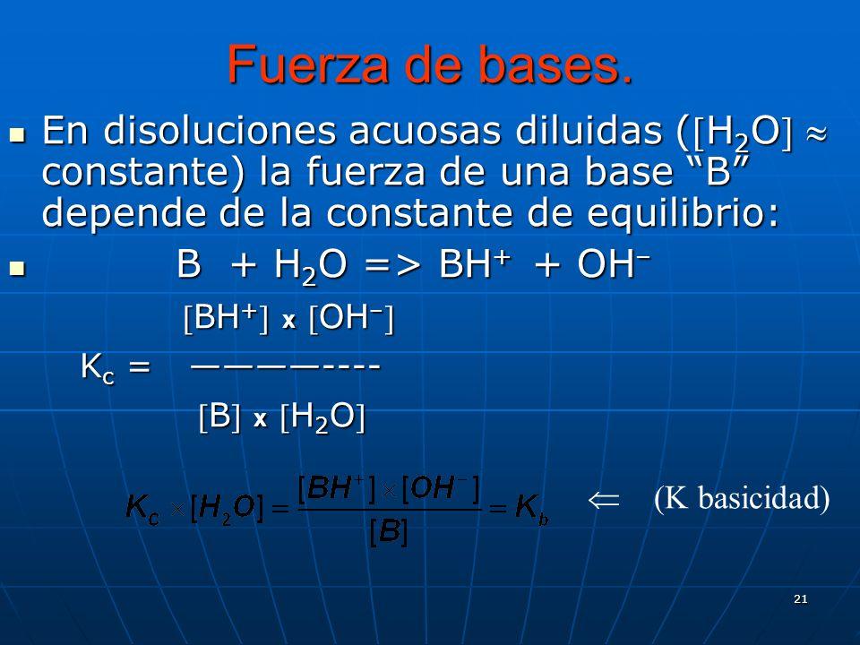 21 Fuerza de bases. En disoluciones acuosas diluidas (H 2 O constante) la fuerza de una base B depende de la constante de equilibrio: En disoluciones