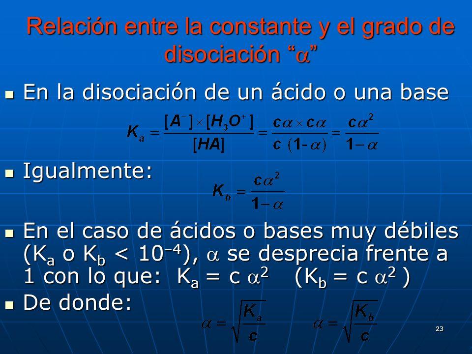 23 Relación entre la constante y el grado de disociación Relación entre la constante y el grado de disociación En la disociación de un ácido o una bas