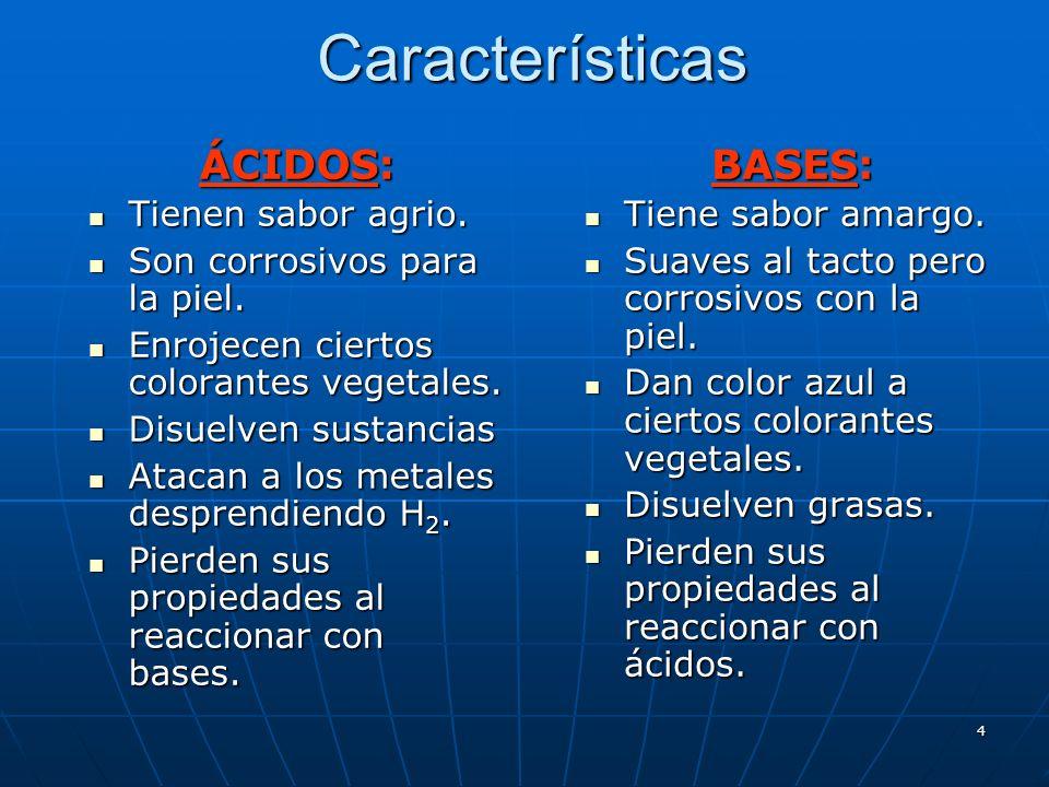 4Características ÁCIDOS: Tienen sabor agrio. Tienen sabor agrio. Son corrosivos para la piel. Son corrosivos para la piel. Enrojecen ciertos colorante