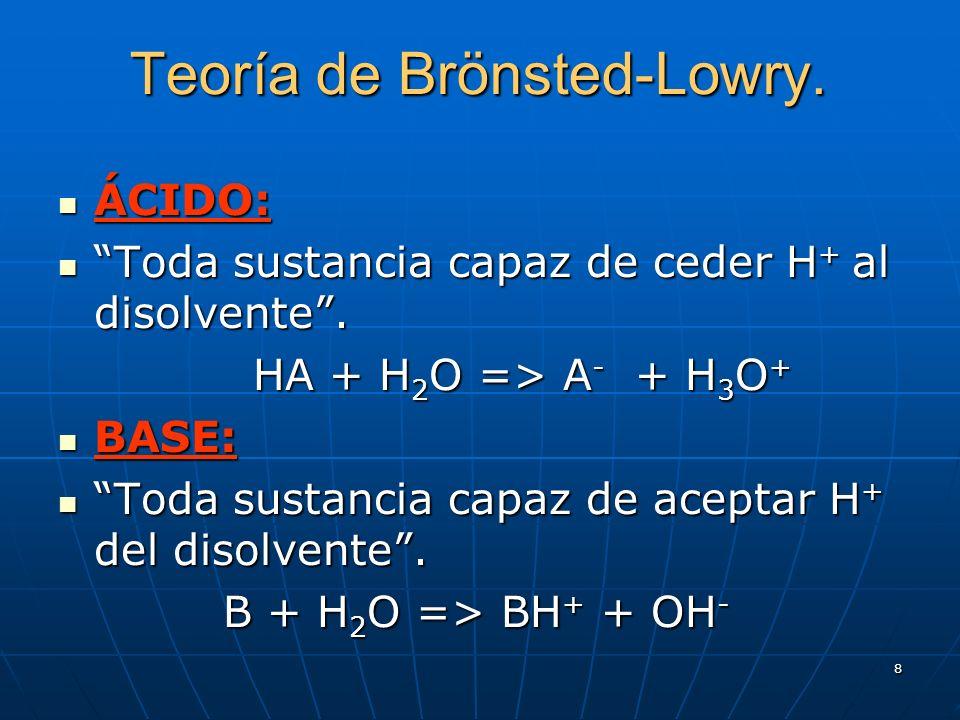 8 Teoría de Brönsted-Lowry. ÁCIDO: ÁCIDO: Toda sustancia capaz de ceder H + al disolvente. Toda sustancia capaz de ceder H + al disolvente. HA + H 2 O