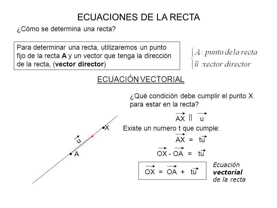 ECUACIONES DE LA RECTA ¿Cómo se determina una recta? Para determinar una recta, utilizaremos un punto fijo de la recta A y un vector que tenga la dire