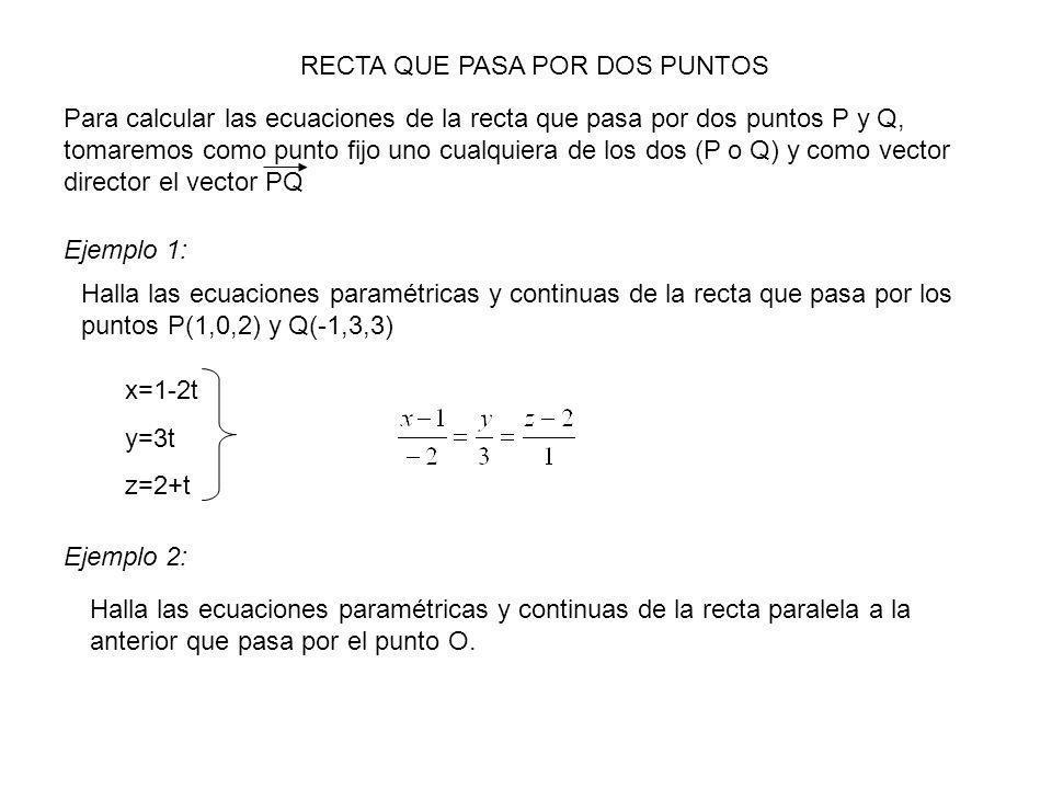RECTA QUE PASA POR DOS PUNTOS Para calcular las ecuaciones de la recta que pasa por dos puntos P y Q, tomaremos como punto fijo uno cualquiera de los