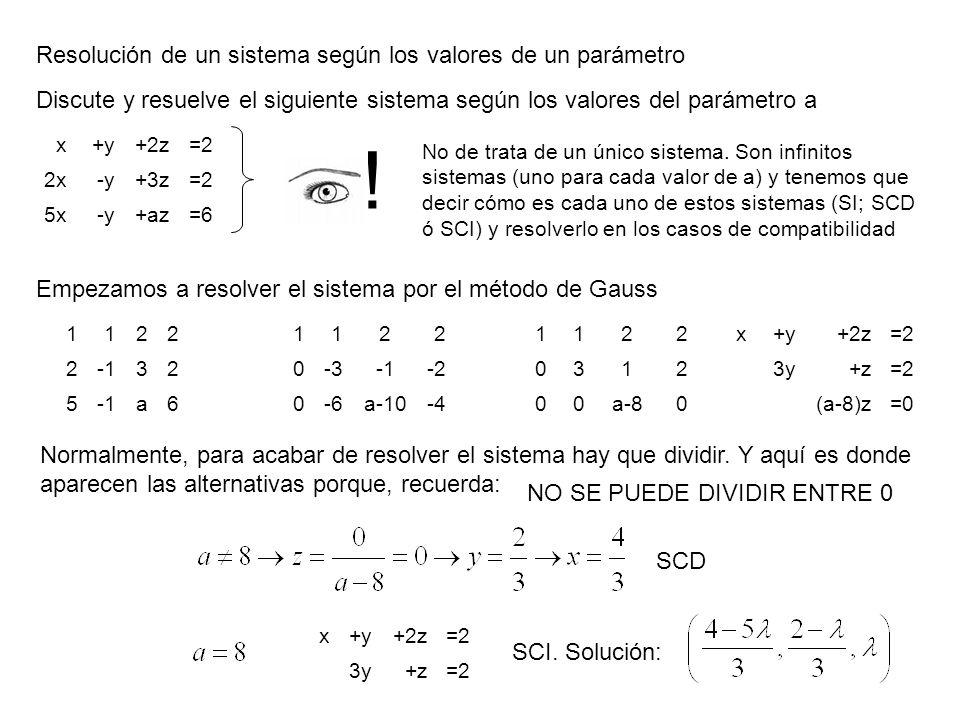 Resolución de un sistema según los valores de un parámetro Discute y resuelve el siguiente sistema según los valores del parámetro a x+y+2z=2 2x-y+3z=
