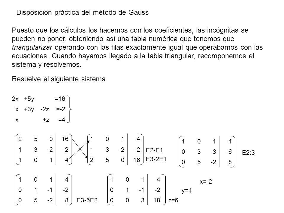 Resuelve el siguiente sistema 25016 13-2 1014 1014 13 25016 E2-E1 E3-2E1 1014 03-3-6 05-28 E2:3 1014 01-2 05 8 E3-5E2 1014 01-2 00318 z=6 y=4 x=-2 2x+